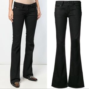 Hudson Low Rise Long Flare Black Bootcut Jeans